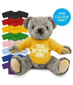 Printed 20cm Archie bear with a Coloured t-shirt