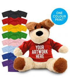 Printed 20cm Darcy dog with Coloured t-shirt