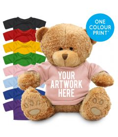 Printed Brown 22cm Edward bear with Coloured t-shirt