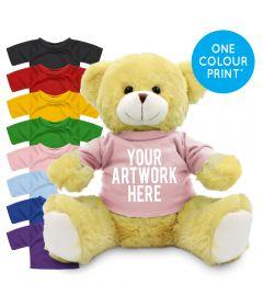 Printed 25cm Elizabeth bear with Coloured t-shirt