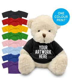 Printed White 18cm James bear with Coloured t-shirt