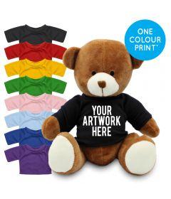 Printed 20cm Richard Bear with Coloured t-shirt