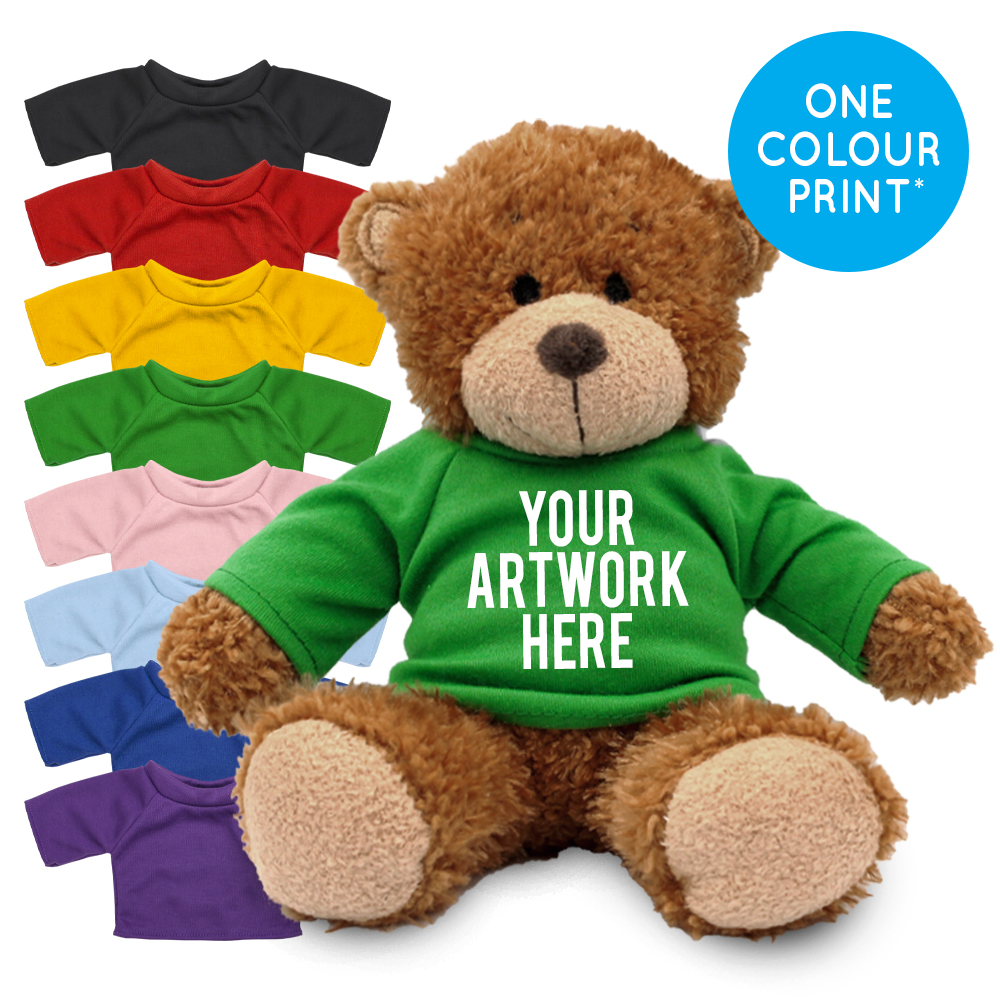 Promotional Anne Bear in Printed Coloured T-shirt - Branded Soft Toys - Medium Teddy Bear