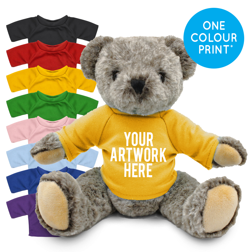 Promotional Archie Jointed Bear in Printed Coloured T-shirt - Branded Soft Toys - Large Teddy Bear