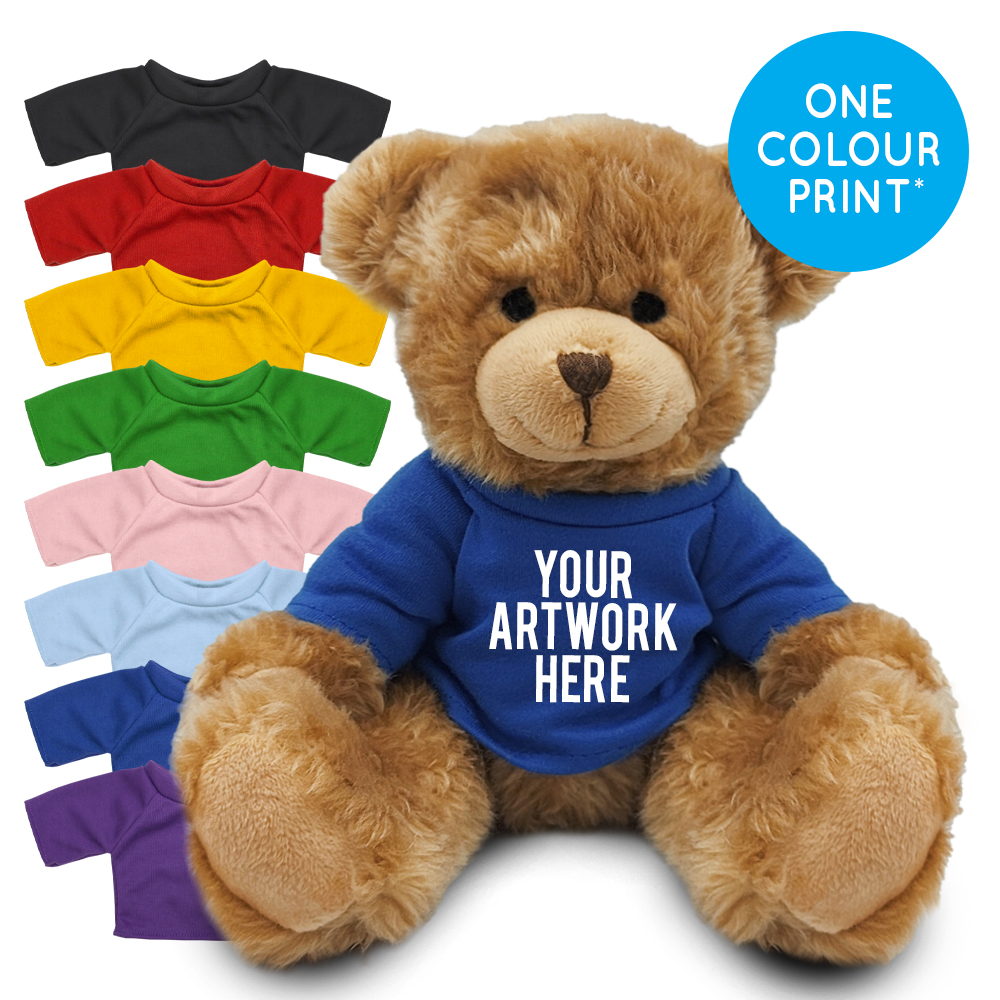 Promotional Charles Jointed Bear in Printed Coloured T-shirt - Branded Soft Toys - Large Teddy Bear