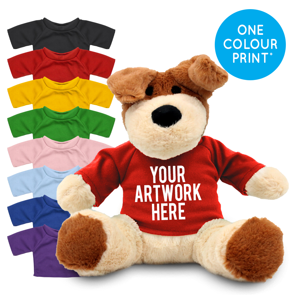 PromotionalDarcy Dog Plush Toy in Printed Coloured T-shirt - Branded Soft Toys - Large Teddy Bear