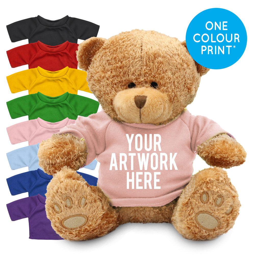 Promotional Edward I Brown Bear in Printed Coloured T-shirt - Branded Soft Toys - Extra Large Teddy Bear