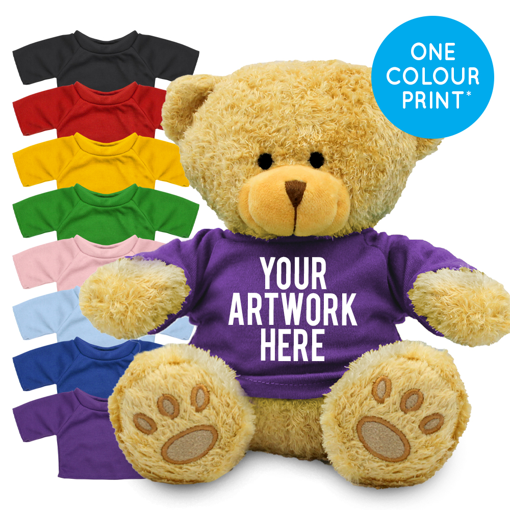 Promotional Edward II Golden Bear in Printed Coloured T-shirt - Branded Soft Toys - Extra Large Teddy Bear