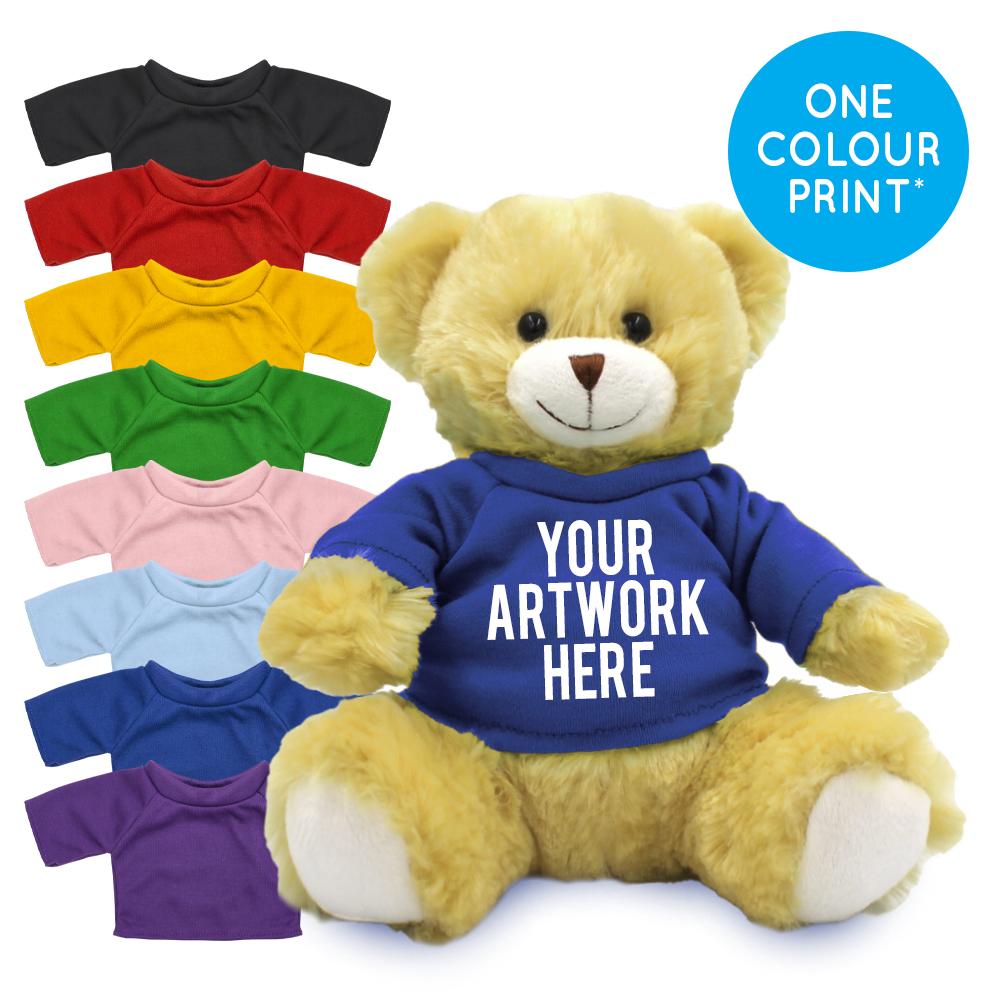 Promotional Elizabeth 20cm Bear in Printed Coloured T-shirt - Branded Soft Toys - Large Teddy Bear