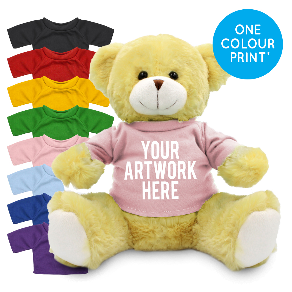 Promotional Elizabeth 25cm Bear in Printed Coloured T-shirt - Branded Soft Toys - Extra Large Teddy Bear