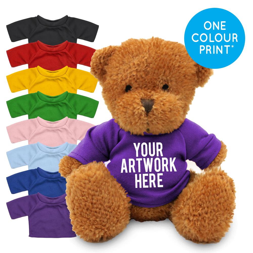 Promotional James II Golden Bear in Printed Coloured T-shirt - Branded Soft Toys - Medium Teddy Bear