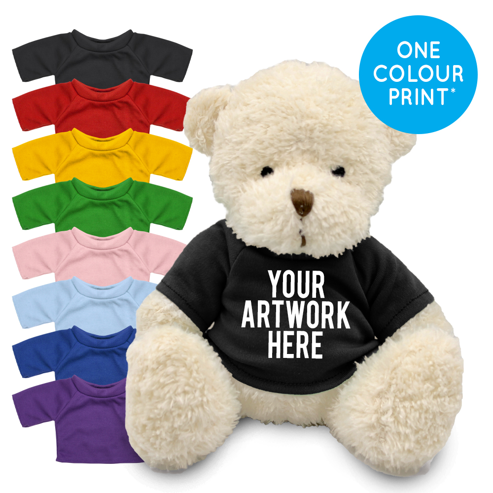 Promotional James III White Bear in Printed Coloured T-shirt - Branded Soft Toys - Medium Teddy Bear