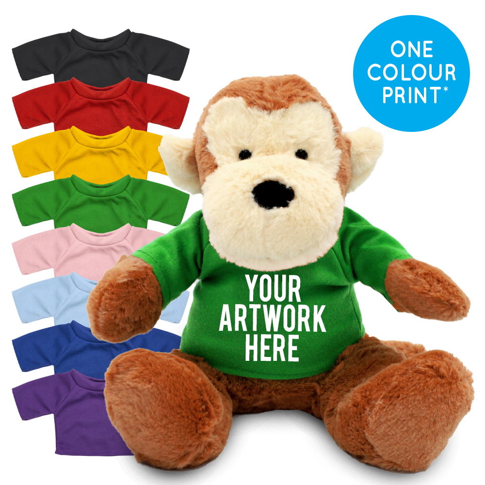 Promotional Max Monkey Plush Toy in Printed Coloured T-shirt - Branded Soft Toys - Large Teddy Bear