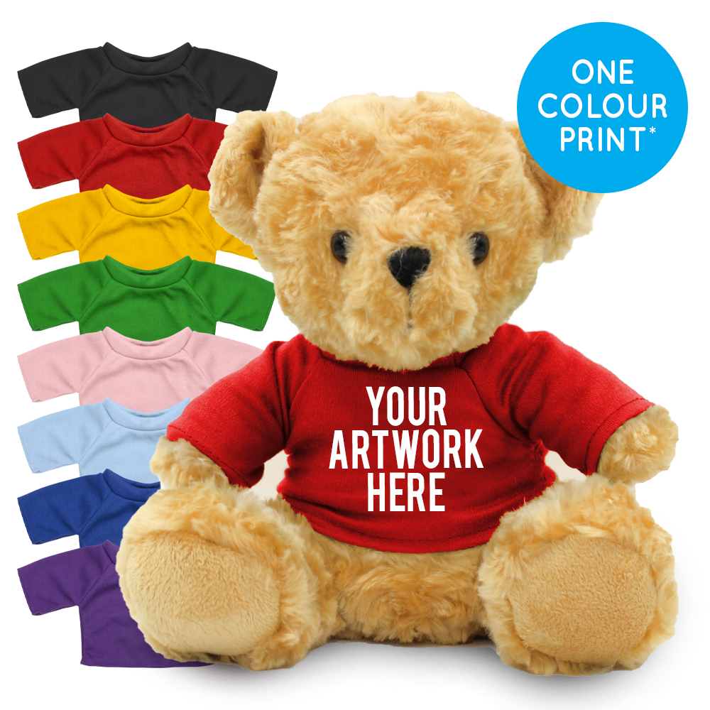 Promotional Victoria Bear in Printed Coloured T-shirt - Branded Soft Toys - Large Teddy Bear