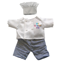 Printed Chef Outfit branded with Company Logo - Printed Soft Toy Outfit