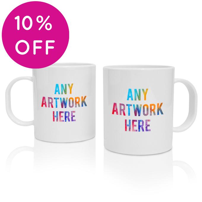 Printed Plastic Mugs branded with Company Logo - Plastic Durham Mug
