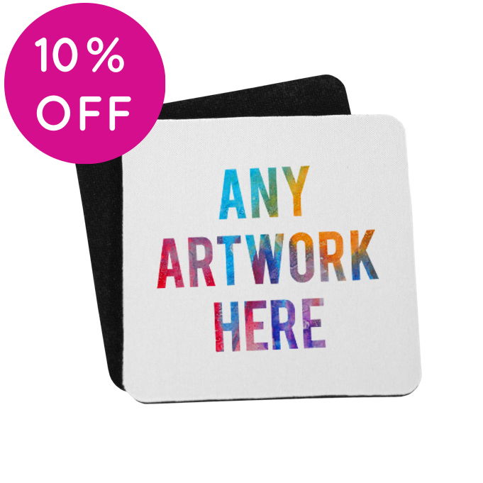 Printed Coasters with rubber base - Branded Fabric Coasters - Square Coasters